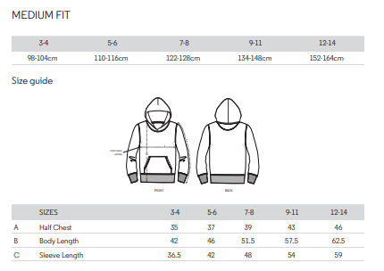 Size guide Co-pilot hoodie